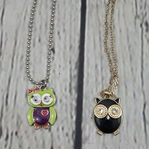 OWL NECKLACE LOT OF 2, BLACK & GOLD, LIME & PURPLE
